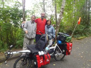 Bren with Jean & Bernadette, Canadians from Quebec cycling the east coast of Washington & Oregon