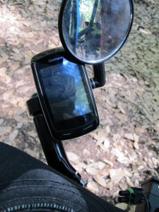 The garmin sitting securely in it's mount