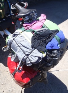 Washing drying on the back of the bike