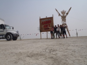 Arriving at Black Rock City with the set-up crew! Ann, Dan, Dr Kelly, & Bremma