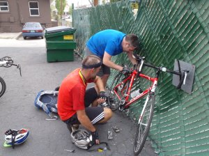 Attaching the rack to Mick's bike