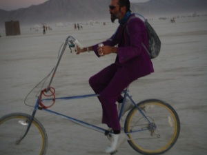 Bren in his Pimping Purple suit on his Pimping Playa bike