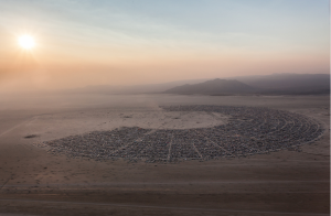 The map  of Burning Man Black Rock City from above. 65,000 people