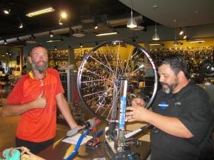 Matt the total legend, making our new rear wheel
