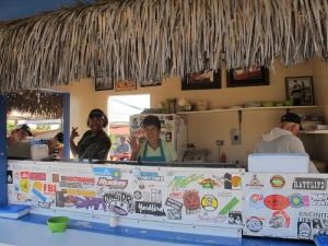 Roberto and his mum Maria at their taco stand