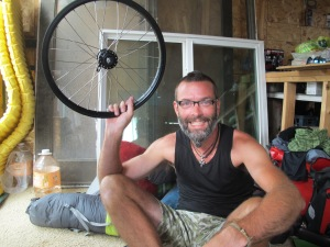 A happy man at having re-laced his first wheel!