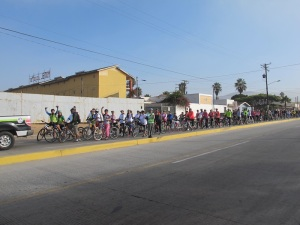 When we left Ensenada, we came across this organised ride. All the cyclists were lining up ready to go and went absolutely nuts as we rode past. It was pretty cool.
