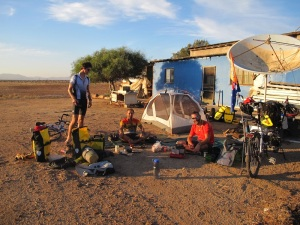 Our first night camping in the desert. We set up at an old farm.