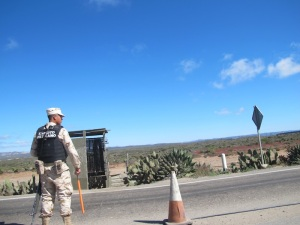 There are military check points all throughout the Baja. They look intimidating with their huge machine guns, but they always simply wave us through with huge smiles.