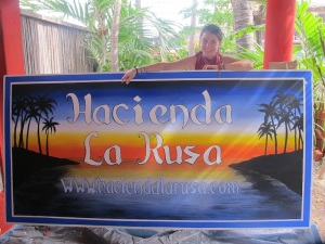 The very talented Brenna Quinlan and the sign she painted for the Hacienda. Check out more of her incredible work; http://www.brennaquinlan.com