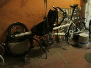 Poor old Falkor #1. Stripped bare and left sitting sad and lonely in the bike car park