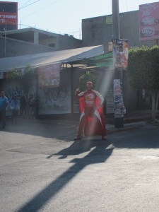 Add to the traffic, a guy in a wrestling suit.
