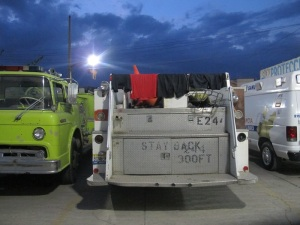 We did a quick load of washing and hung it to dry...on the back of the fire truck of course!