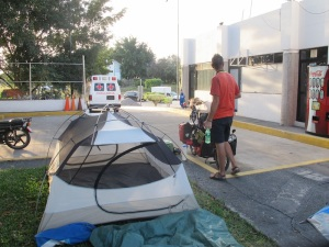 Camping at a toll booth