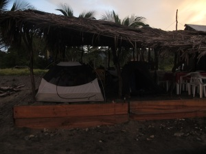 A sweet campsite at the beach under the shelter  of Pablo's restaurant