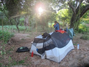 Camping by a river before Acapulco