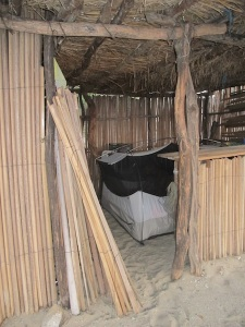 "Our little tent ""The Bremahal"" hiding from the wind in the palapa"