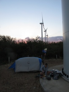 Camping splat bang under the turbine....