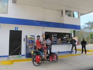 "Our new mates at the servo ""Pemex"". They kindly invited us to camp and then got Bren involved in a footy match"