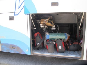 The brakes failed on the front and we had to catch a bus to Sien Fuego. Look at Falkor tucked in there!