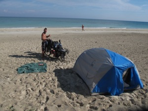 Beach camping in winter in Cuba means you will get wet. Very wet!
