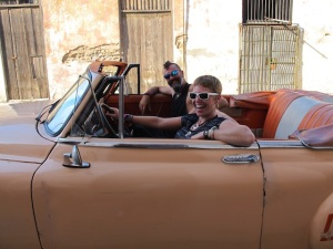 It had to be done. We took a ride through Havana in an old Chevy with Roberto.