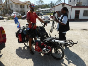 Brendy doing the interview for Belize TV with cameraman Pandy Show