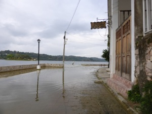 The streets of Flores Guatemala were flooded.Had to turn back.