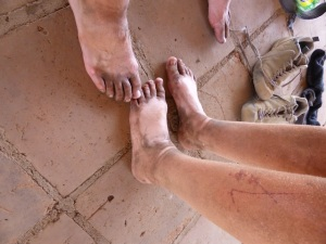 Look how dirty our feet are despite the fact we had shoes and shocks on!