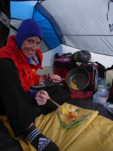 It was a welcome change to be cold at that altitude, so burrito dinner in the tent