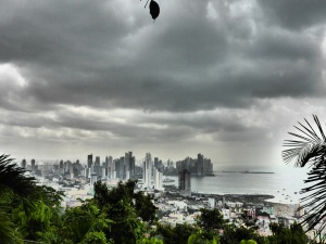 Panama city in the building clouds of rainy season.