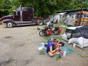 We couldn't find a place to camp in David, so Bren asked the owner of this truck yard. Not the most glamourous spot.