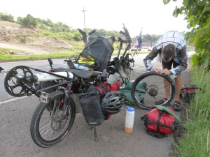 Puncture on the road to Panama. Joy.