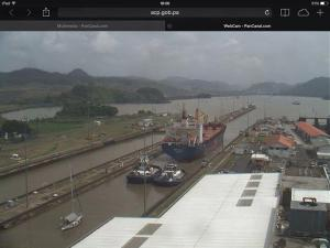 And this is the view of the webcam, the same view the tourists see. We are the tiny yacht at the back. See us waving?