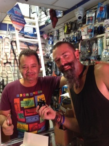 Bren with Manuel, the owner of the Casa and the local bike shop. With our new SON hub.