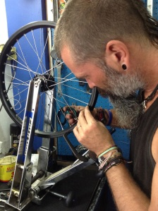 Brendo, now a true champ at wheel rebuilding. Practise makes perfect….we hope!