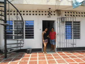 Sister 'Zulma' and Mum 'Fanny' outside their home in Cartagena
