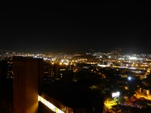 Night view of Medellin from our apartment