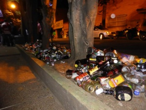 Remnants of a regular Saturday night in Poblado