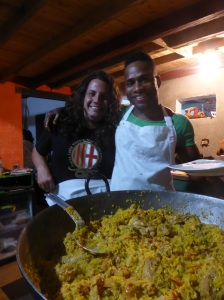A party at the Casa, the footy boys make THE biggest paella ever!
