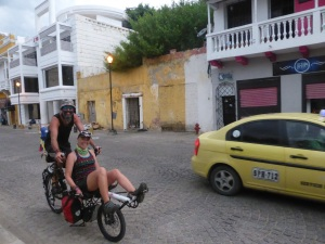 Bremma do a day ride through Cartagena. So nice to ride without all of our bags!