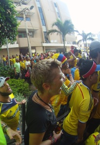 Watching the World Cup game Colombia V Brasil