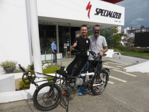 With Andre at Specalized in Pereira where they rebuilt our rear wheel