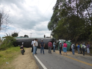 And trucks drive like maniacs. Glad we were out of the way when this happened.