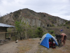 Camping on the side of the PanAm in the desert stretch in Colombia.We were told it was very dangerous but we just found it hot and difficult.