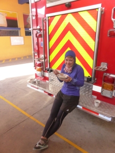 Breaky on the back of the fire truck