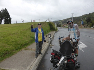This old Colombian bloke chased us up a hill on his bike in the rain to give us an energy drink. Legend!