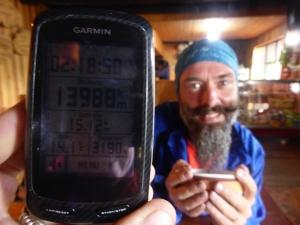 13988 km at elevation 3190m - 14degrees inside