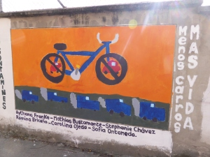 Student art work in Loja  promoting the environmental aspects of cycling