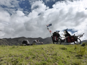 Stretching the tight legs after a luxurious  10 days off the bike in Cusco.